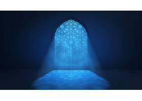 月光穿过窗户进入伊斯兰清真寺内部_15347313