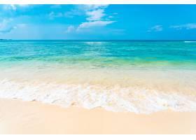 有白色云彩的美丽的热带空海滩海洋在蓝天背_11408952