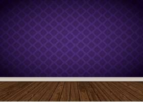 房间内部与紫色锦缎壁纸和木地板_1162428