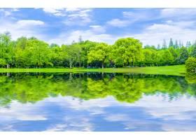 反射庭院风景草坪抽象背景蓝天和白色云彩_1244167