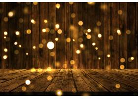 3d与圣诞节bokeh光的木桌_3590508