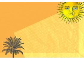 与太阳和棕榈树混合媒介的纸背景从公共领_15666105