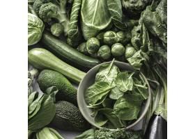 与绿色蔬菜的超级食物背景_15850959