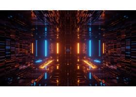 翻译与发光的霓虹蓝色和橙色光的抽象未来派_10860238