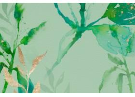 绿色水彩叶子背景美学春季_17227376