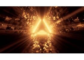 美丽的霓虹灯门户与发光的橙色线在隧道背景_9971497