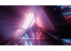 美丽的霓虹灯门户与发光的紫色和蓝线的光在_10835772