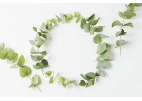 用在白色背景隔绝的叶子做的婚礼框架_4937206