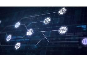 电路板的地球互联网图标线连接_1198393
