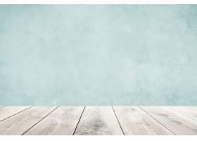 有木地板产品背景的淡色蓝色墙壁_15662575