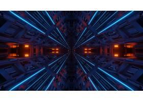 未来派对称和反射抽象背景用橙色和蓝色霓虹_11426714