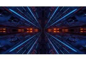 未来派对称和反射抽象背景用橙色和蓝色霓虹_12327990