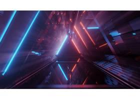 在霓虹激光光的凉快的几何三角形图  伟大_9971537