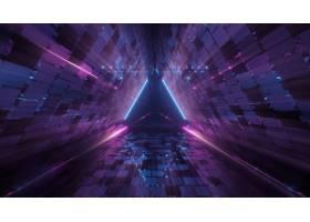 在霓虹激光光的凉爽的几何三角形图  伟大_9970519