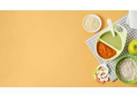 在黄色背景的平的小食物框架_8805110