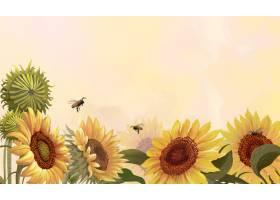 在黄色背景的手拉的向日葵_13299008