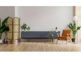 嘲笑内阁在有皮革扶手椅子和植物的现代客厅_14985693