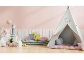 嘲笑墙壁在儿童的房间里有椅子在浅粉红色的_15832352