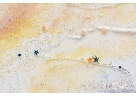 在五颜六色的抽象淡色水彩背景的闪烁的星五_15438819
