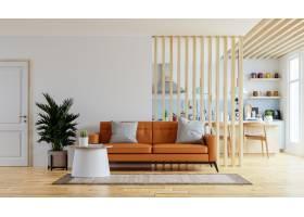 在暖和的色调的客厅室内墙壁样机与皮革沙发_15832338