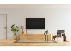 在白色墙壁上的智能电视在有扶手椅子的客厅_15981562