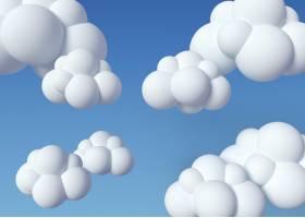 3d白色云彩和蓝色背景_14140125