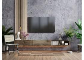 一台电视在有扶手椅子和植物的现代客厅在混_14985838