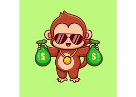 拿着金钱袋子动画片传染媒介象例证的凉快的_16304230