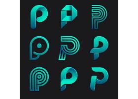 梯度彩色p logo集合_13454467