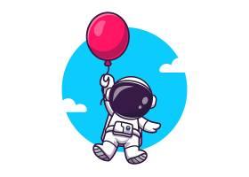 漂浮与气球动画片传染媒介象例证的逗人喜爱_16246909
