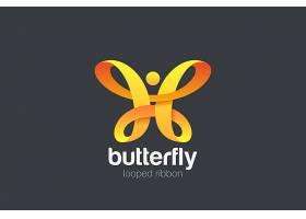 蝴蝶徽标带圈设计美容时尚豪华标识_14240977