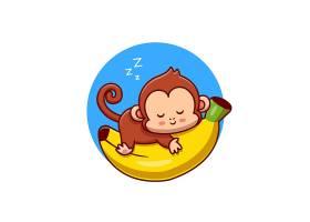 睡觉在香蕉动画片传染媒介象例证的逗人喜爱_16242558