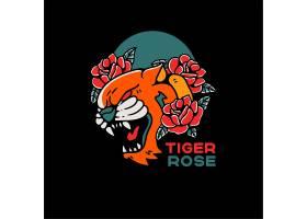 老虎和玫瑰纹身样式葡萄酒例证_16423580