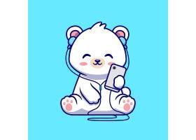 逗人喜爱的北极熊听音乐动画片传染媒介象例_16306370