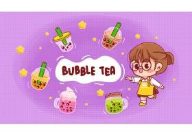 逗人喜爱的女孩和泡沫牛奶茶商标动画片艺术_14092855