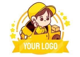 逗人喜爱的送货人商标手凹道动画片艺术例证_16287050