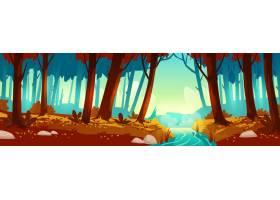 秋天风景与森林和河_7062209