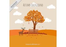 秋天风景背景与树和鹿的_910542