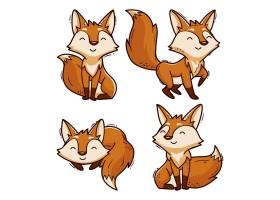 绘制的卡通狐狸集合_9452013