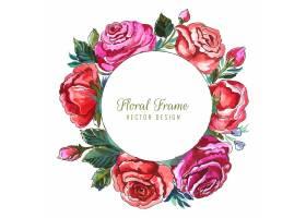 美丽的圆玫瑰花卉框架卡片背景_16840993
