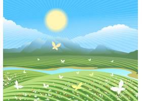 春季农场景观在小山的绿色领域与花和蝴蝶_10602048