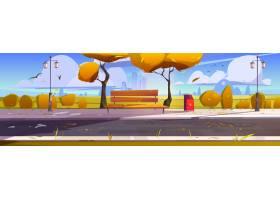 有木长凳黄色树和下落的叶子的秋天城市公园_15240882