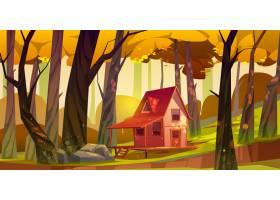 木高跷房子在秋天森林里有大阳台的老棚子_12873475