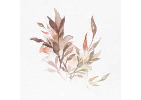 水彩叶子棕色花卉传染媒介秋天季节性图表_17221577