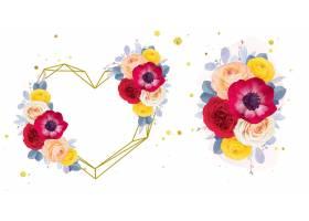 水彩爱花圈和红色玫瑰银莲花属和毛茛属花束_16660136
