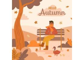 手拉的秋天背景_16486074