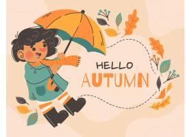 手拉的秋天背景_16692400