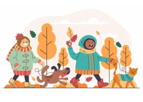 平面设计秋季儿童和宠物_17806758