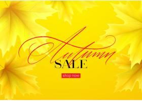 您好与现实黄色秋叶的秋天销售背景传染媒_16248007