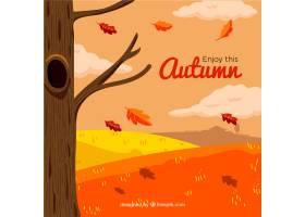 与秋季风景的手拉的背景_1261942